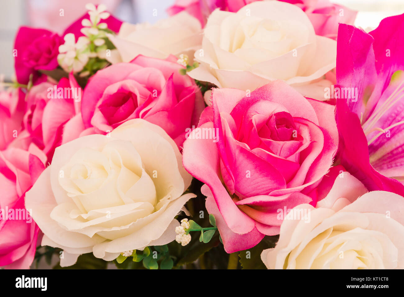 Pink And White Fake Flower Handmade Sewing Flowers Stock Photo