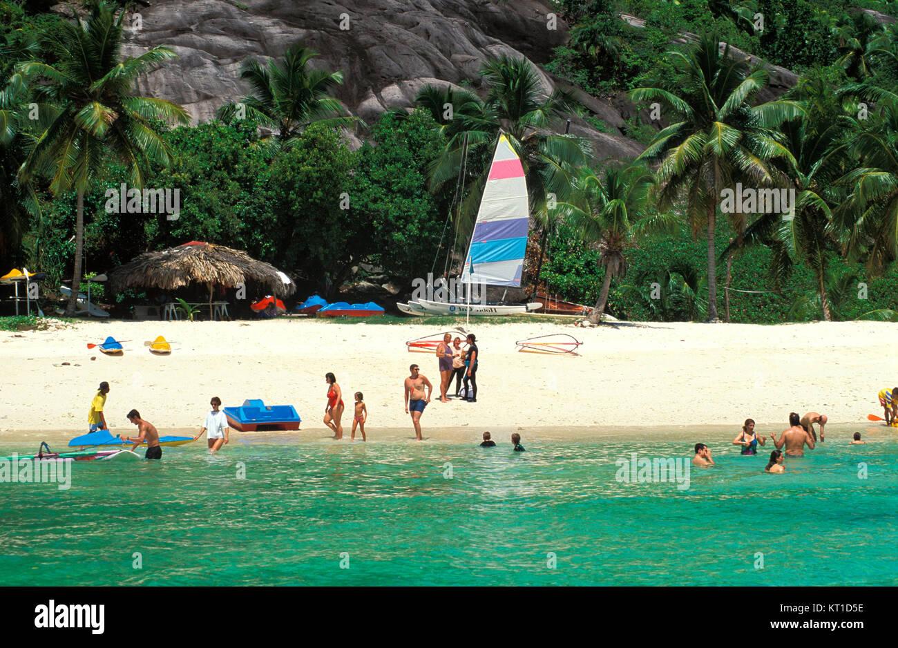 Mahe island,  bathing island Therese, Seychelles - Stock Image