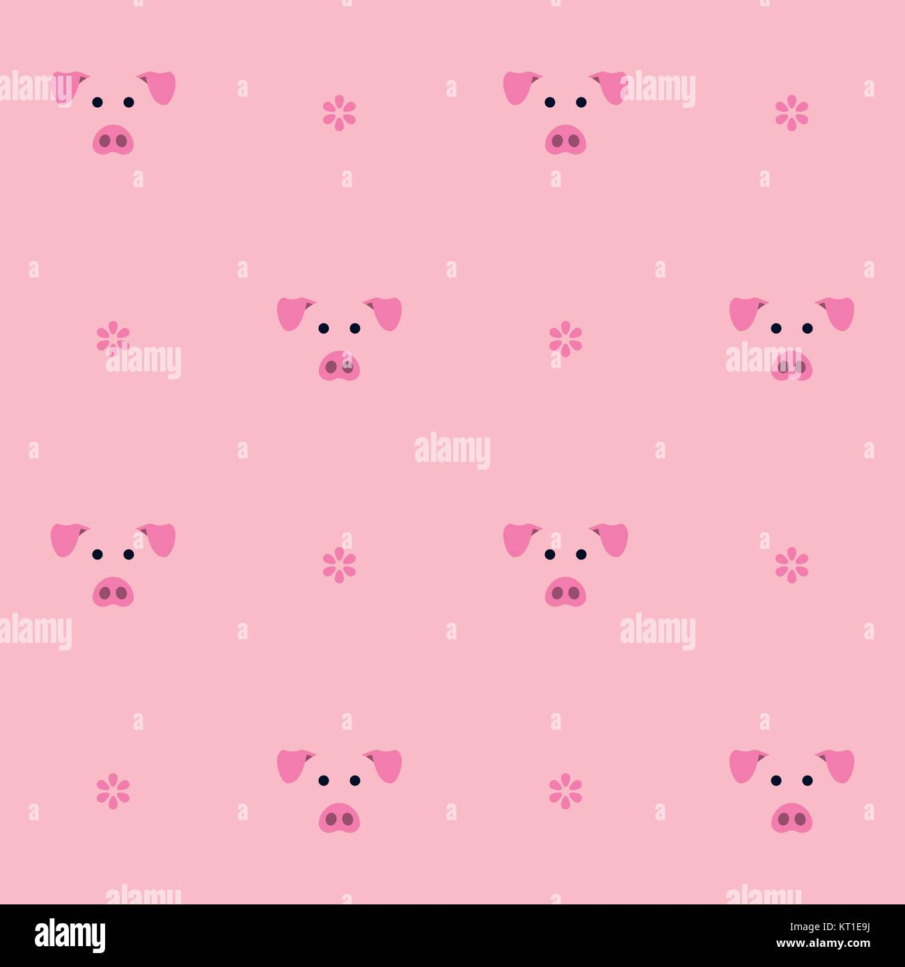 Seamless vector pattern. Cute pigs and flowers in pink background. Farm animal motif. - Stock Vector