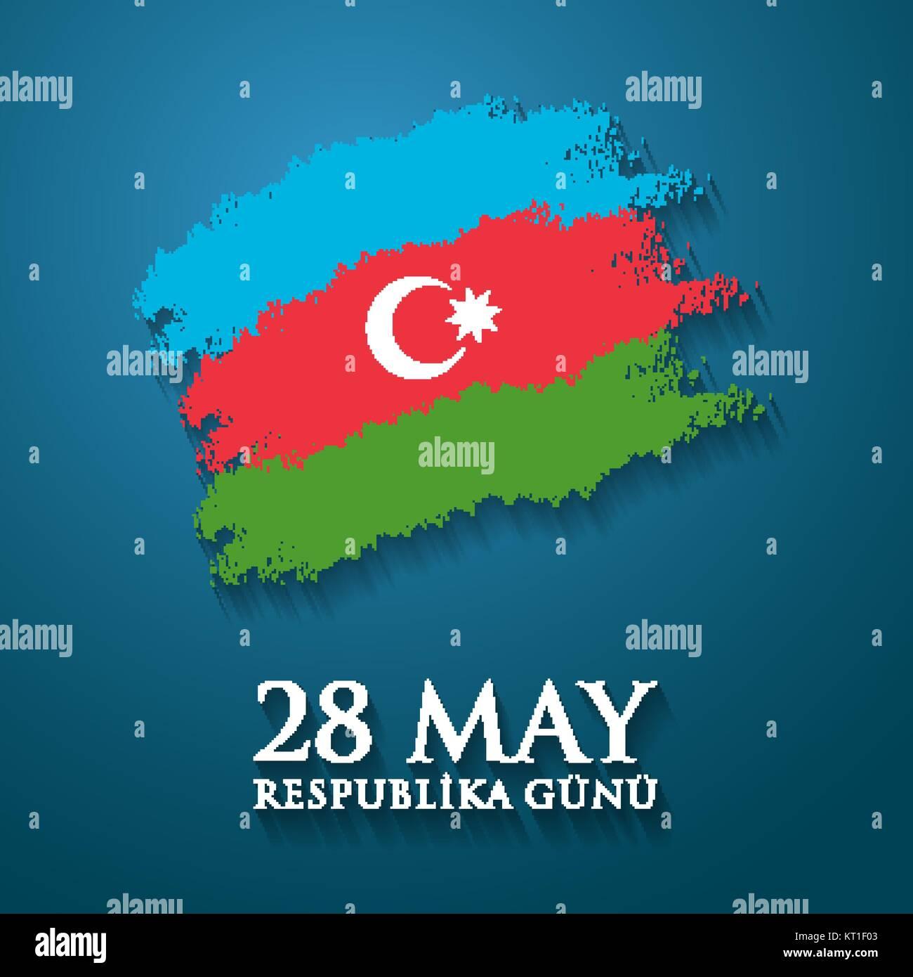 28 May Respublika gunu. Translation from azerbaijani: 28th May Republic day of Azerbaijan. - Stock Vector