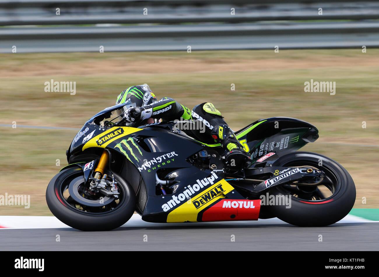 MUGELLO - ITALY, JULY 13, 2012: British Yamaha rider Cal Crutchlow during Qualify Session Grand Prix TIM of Italy Stock Photo