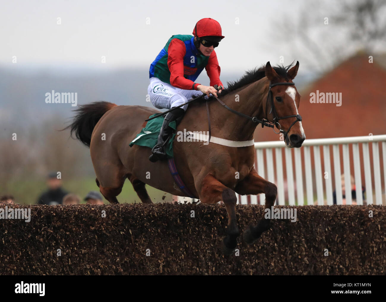 Ballyegan Ridden By Sean Houlihan Jumps The Last Fence To Win The Stock Photo Alamy