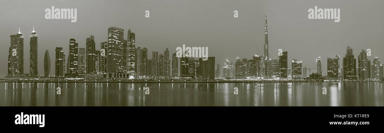 DUBAI, UAE - MARCH 24, 2017: The panorama of skyline over the Canal and Downtown. - Stock Image