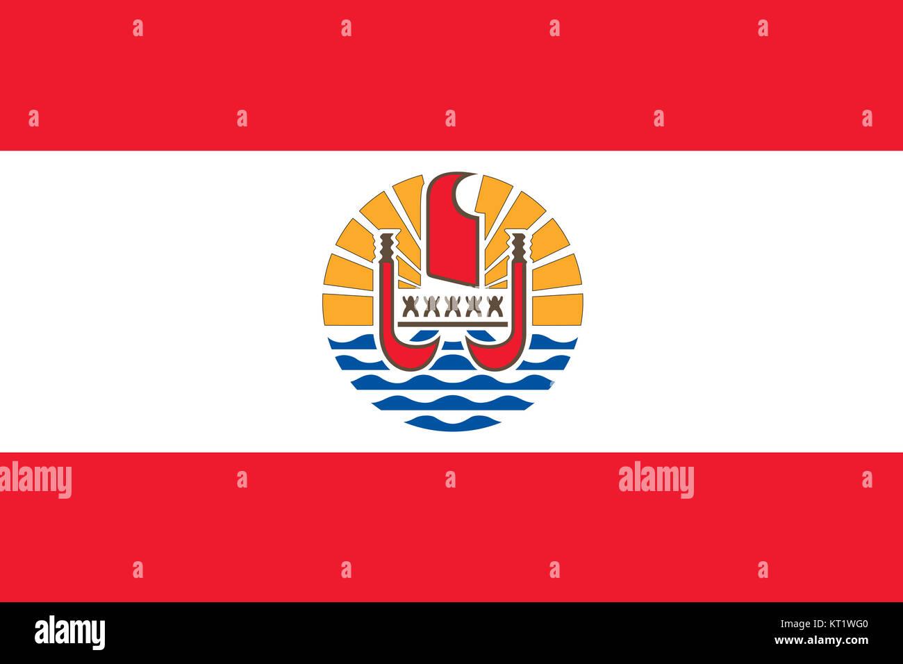 National flag of French Polynesia - Stock Image