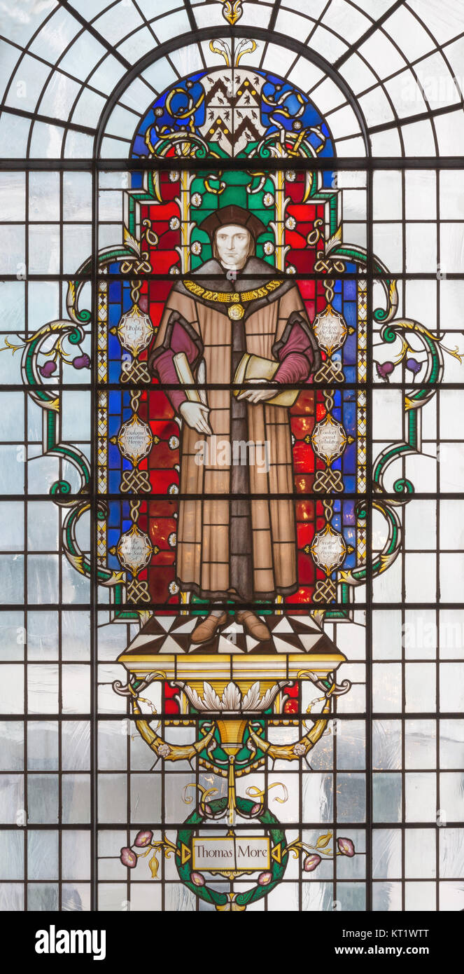 LONDON, GREAT BRITAIN - SEPTEMBER 14, 2017: The saint martyr Thomas More on the stained glass in church St. Lawrence - Stock Image
