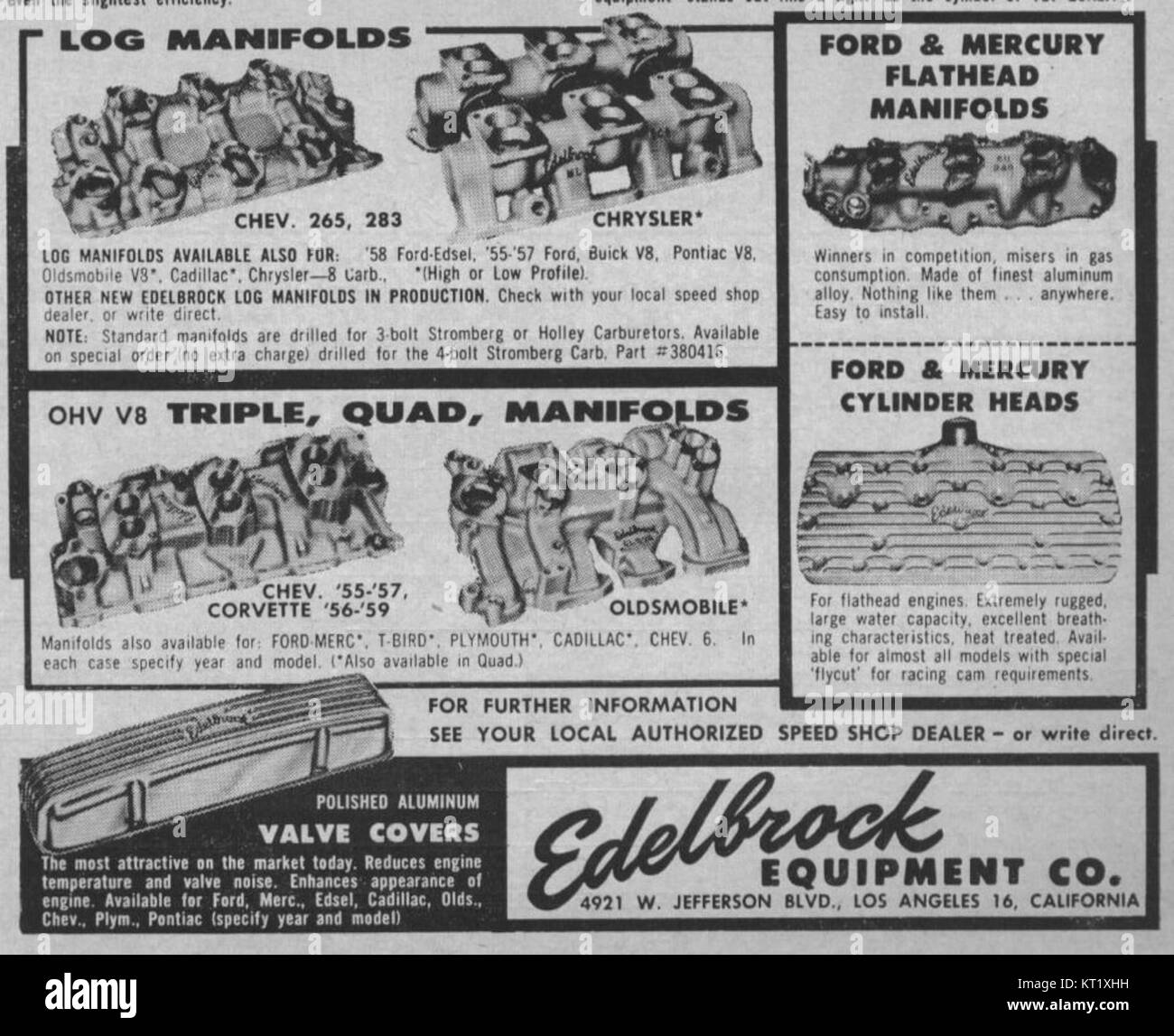 FE reference in Edlelbrock Ad 1958 Stock Photo: 169687885