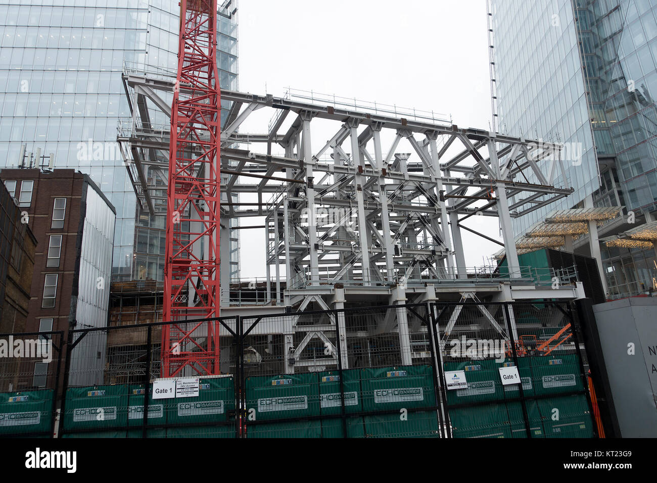 The Steel Framework of a New Apartment Block and Retail Centre next to The Shard Skyscraper in Southwark South Bank - Stock Image
