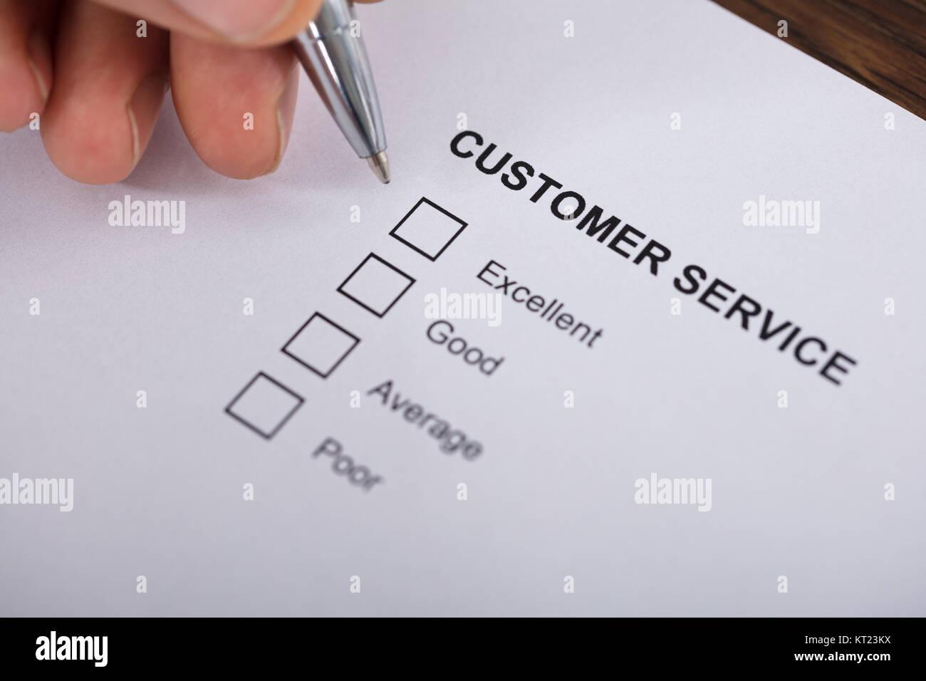Customer Service Satisfaction Survey Form Stock Photo