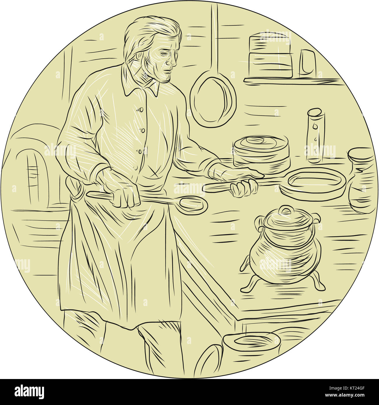 Medieval Cook Kitchen Oval Drawing