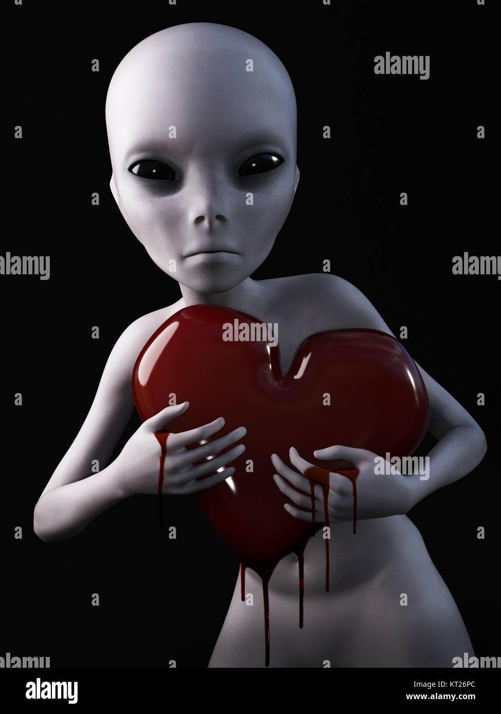 3D rendering of an alien holding bleeding heart. - Stock Image