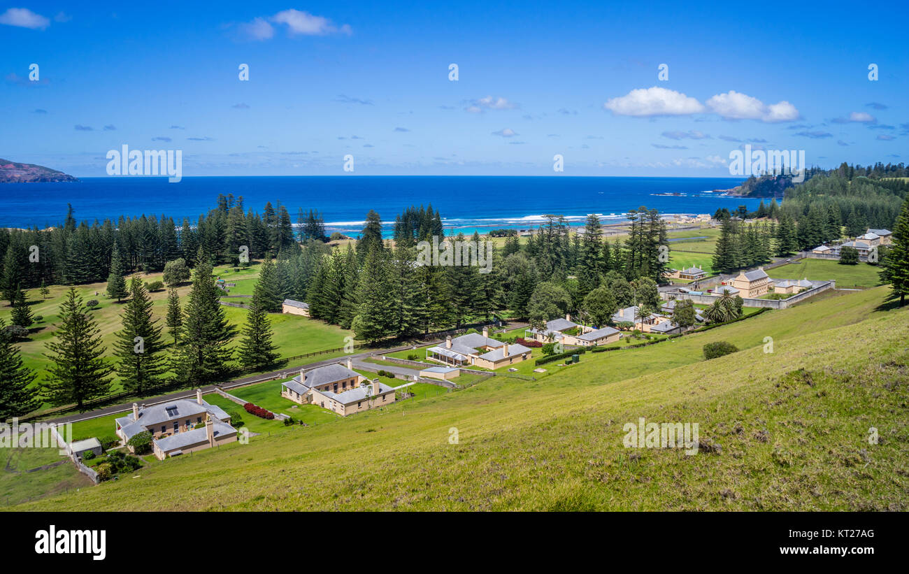 Norfolk Island, Australian external territory, view of historic buildings at Quality Row from Queen Victoria Lookout Stock Photo