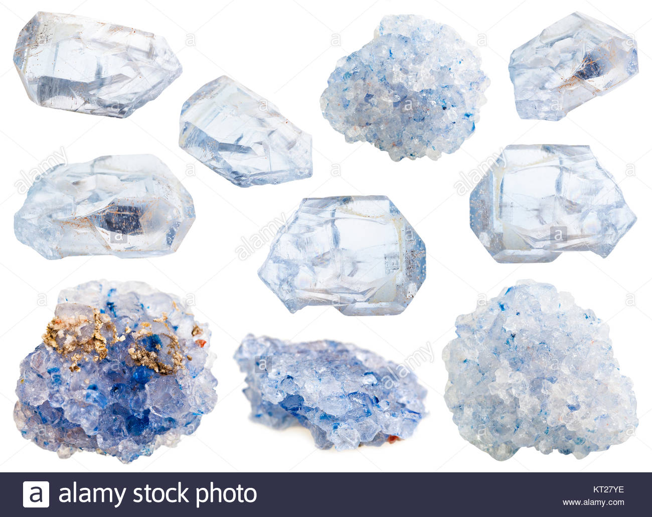 collection of various celestine mineral stones - Stock Image