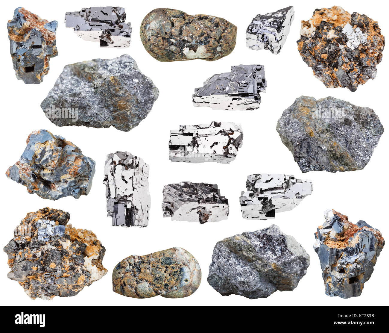 collection of various galena mineral stones - Stock Image