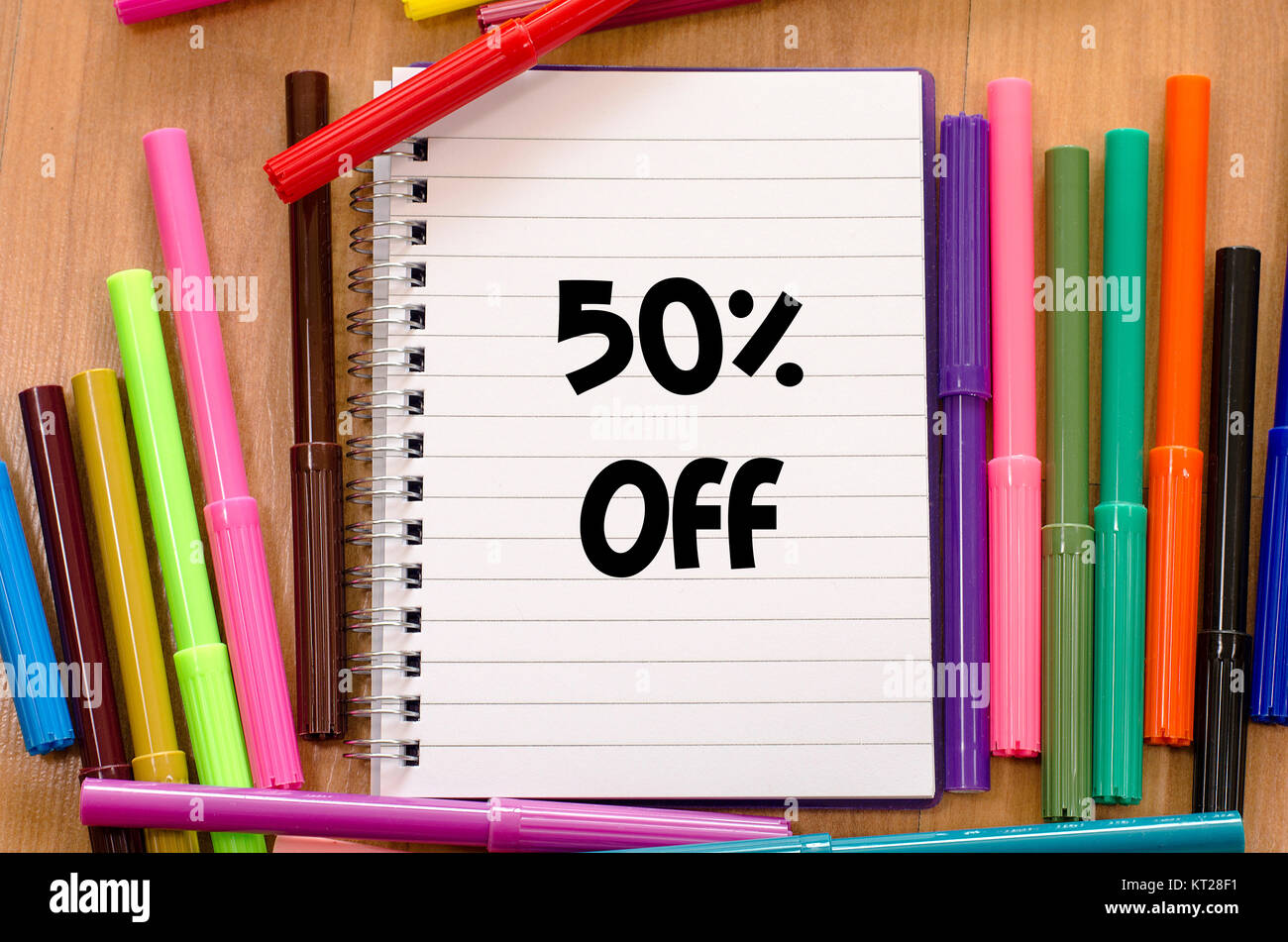 50% off text concept Stock Photo