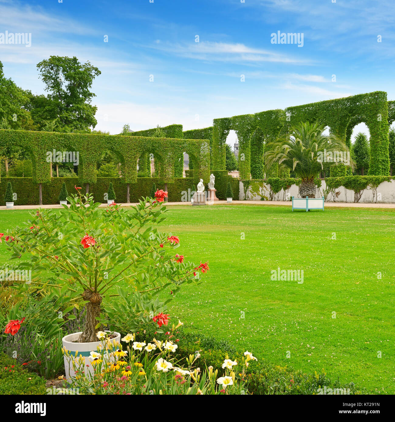 Beautiful glade in the historical city park of Schwetzingen, Germany. - Stock Image