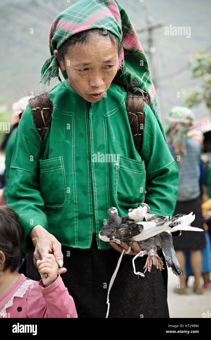 Tribeswoman holding a pigeon in Meo Vac market, Ha Giang Province, north Vietnam - Stock Image