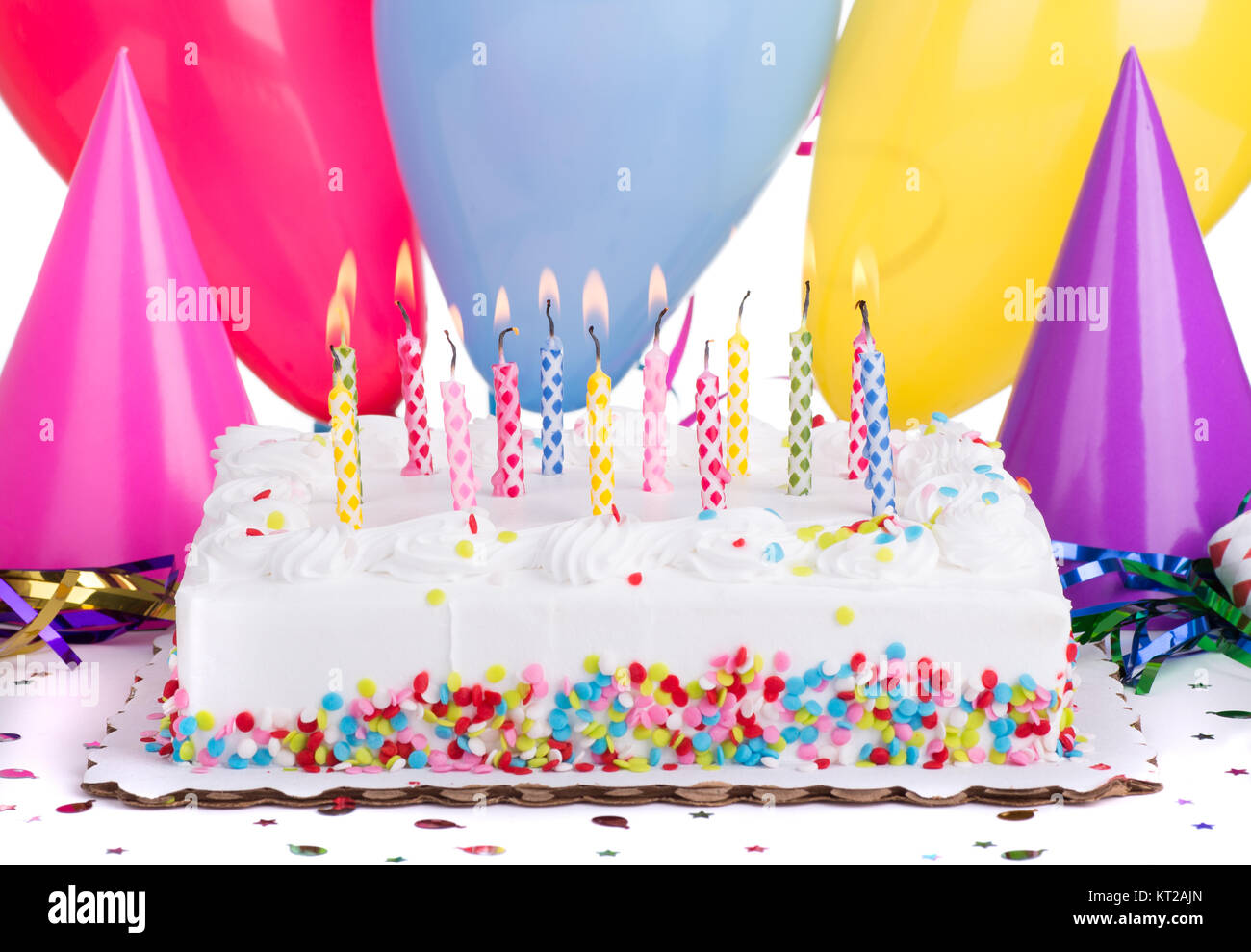 Enjoyable Birthday Cake And Burning Candles Withparty Hats And Balloons Funny Birthday Cards Online Alyptdamsfinfo