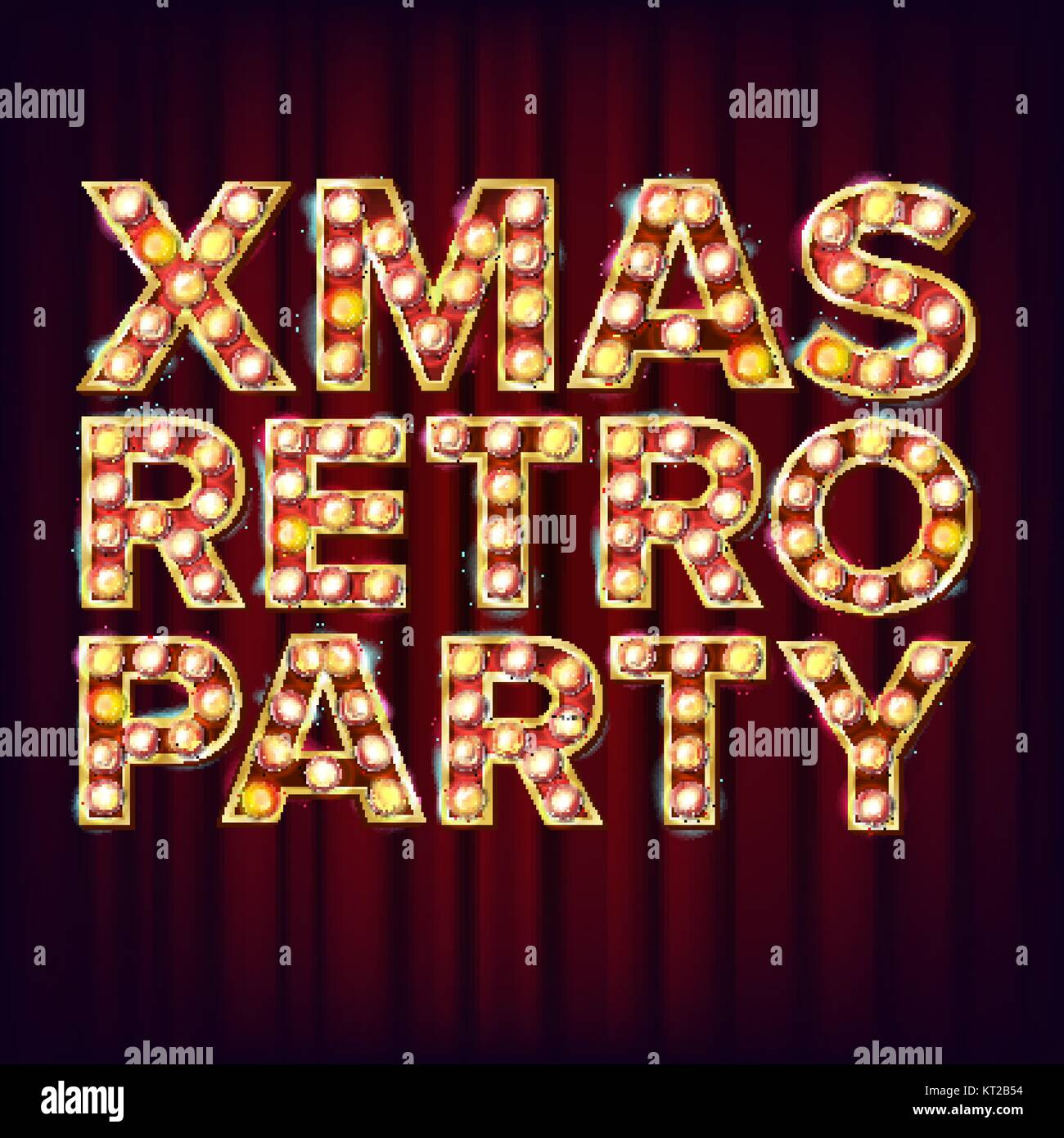 Christmas Retro Party Invitation Sign Vector 3D Electric Glowing