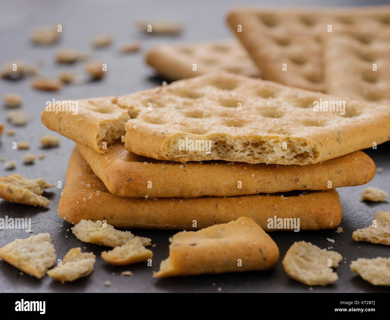stack of square salt crackers Stock Photo