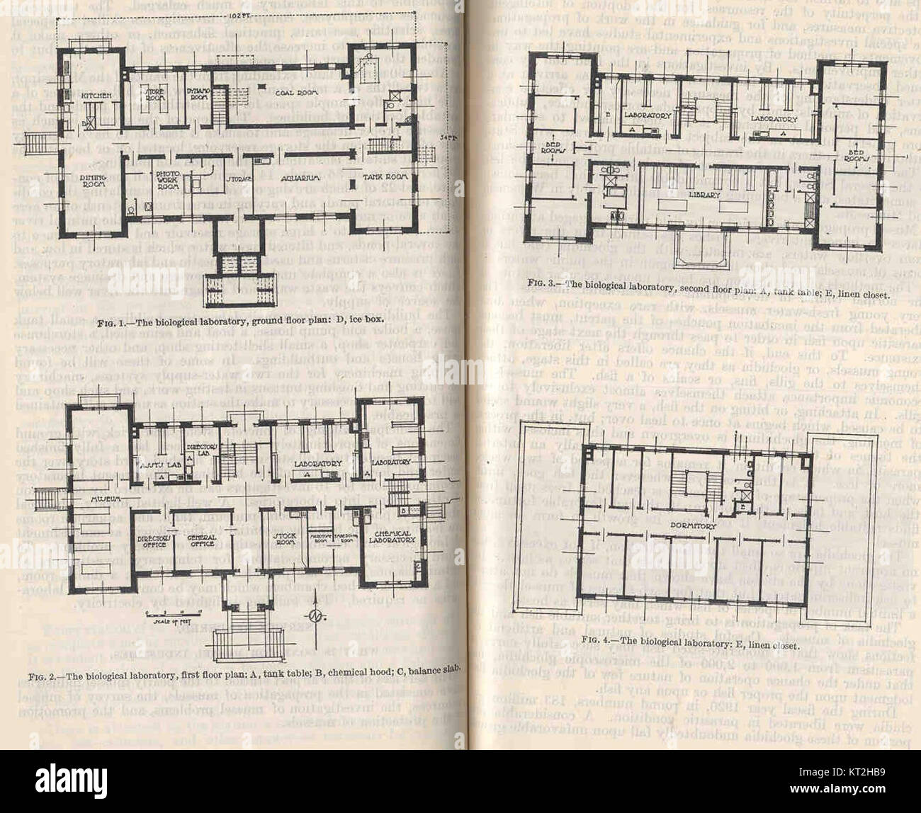 35072 Biological Laboratory Fig1 Ground Floor Plan Fig 2 First Floor Plan Fig3 Second Floor Plan Fig 4 Dormitory Stock Photo Alamy