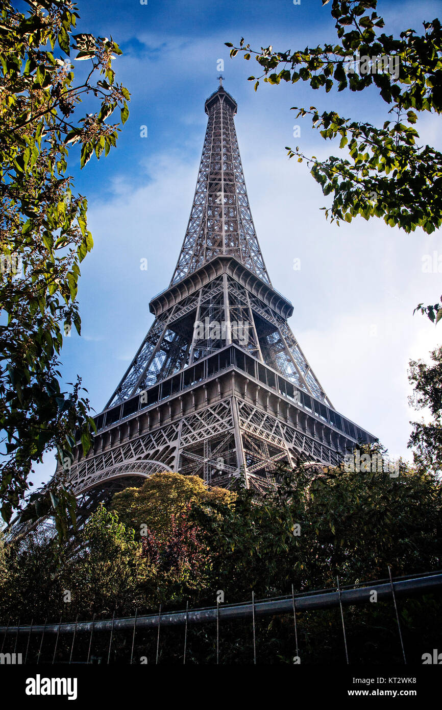 The Eiffel Tower stands in central Paris, France - Stock Image