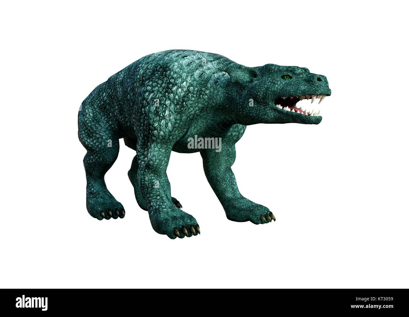 3D Rendering Gargoyle Hound on White - Stock Image
