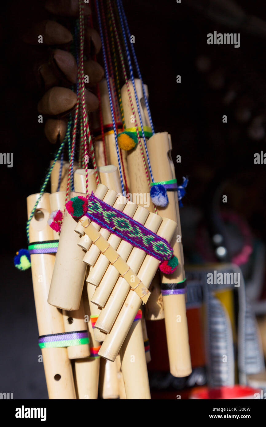 Pan Pipes or Pan Flute - traditional south american musical instrument  for sale, Ecuador South America - Stock Image