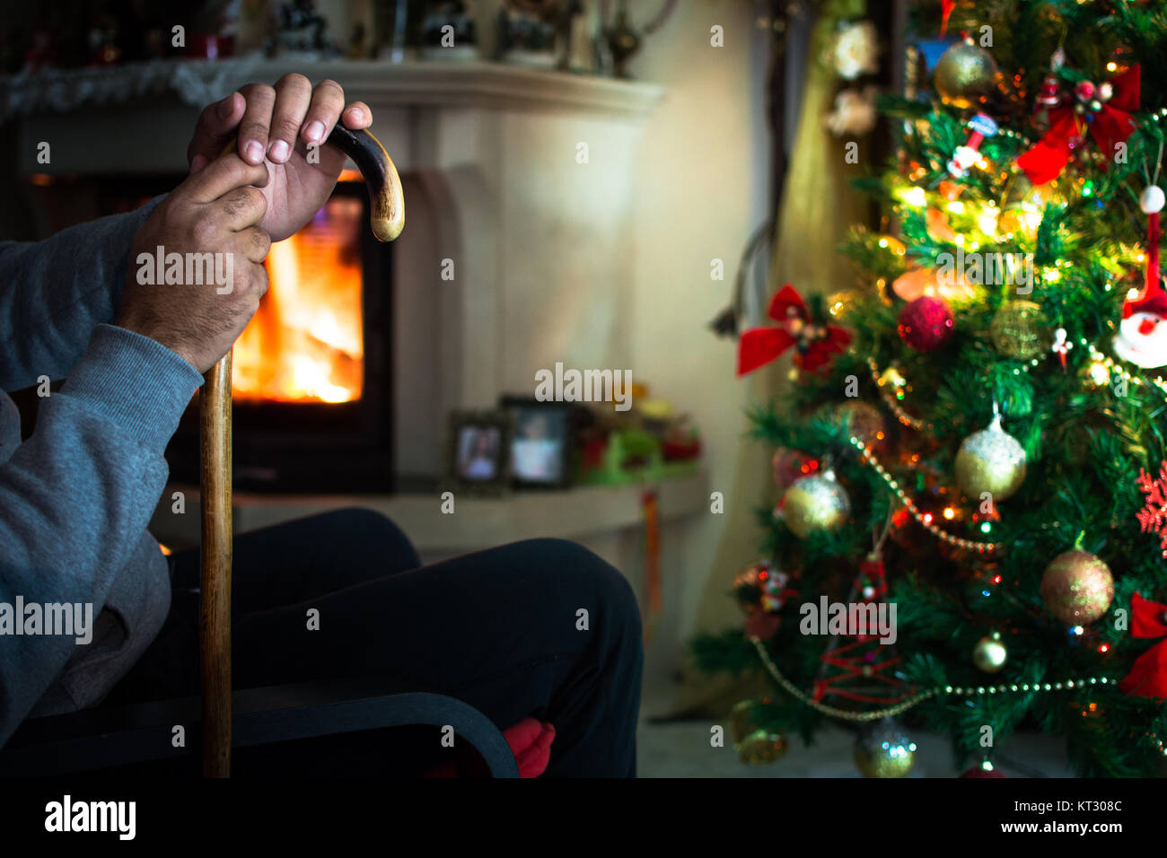 Lonely Christmas.Lonely Christmas Alone Loneliness Stock Photos Lonely
