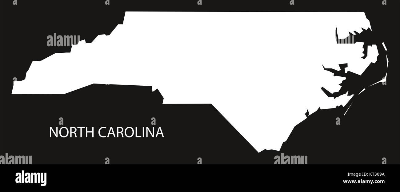 North Carolina USA Map black inverted silhouette Stock Photo ...