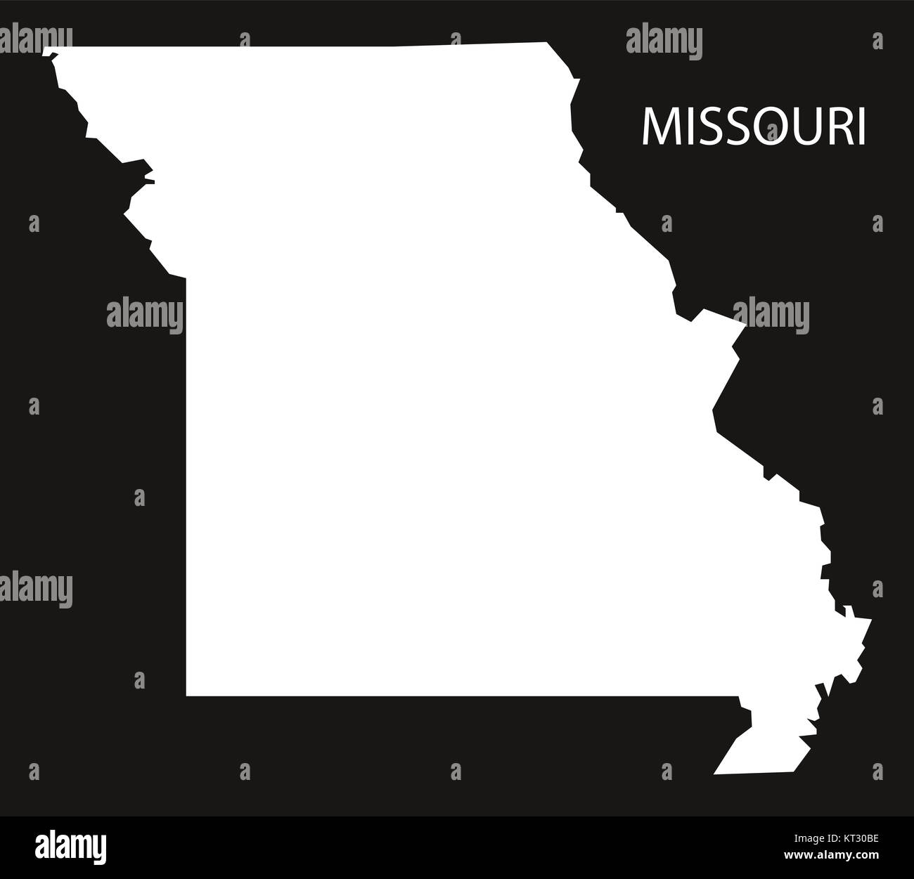 missouri usa map black inverted silhouette map