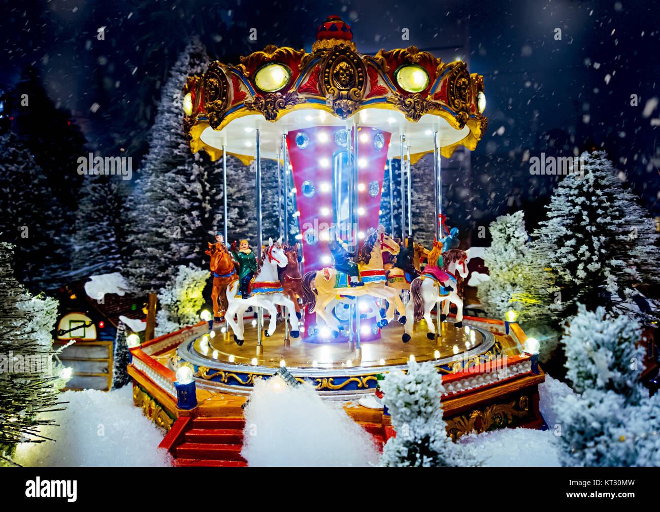 miniature christmas village scene christmas decorations toys stock image - Miniature Christmas Village