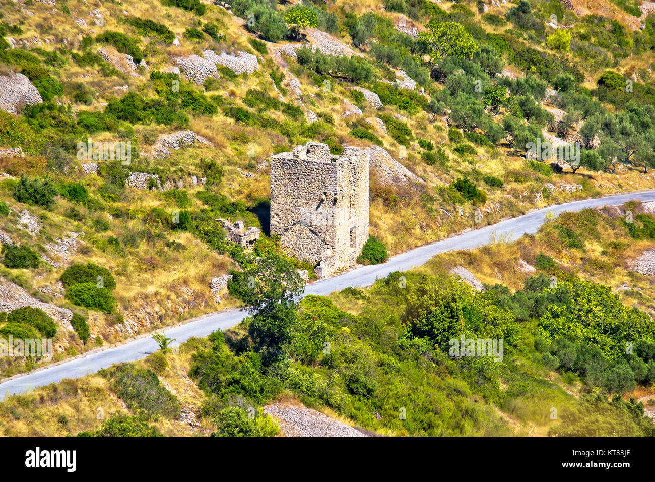 Island Vis military zone old guard tower Stock Photo