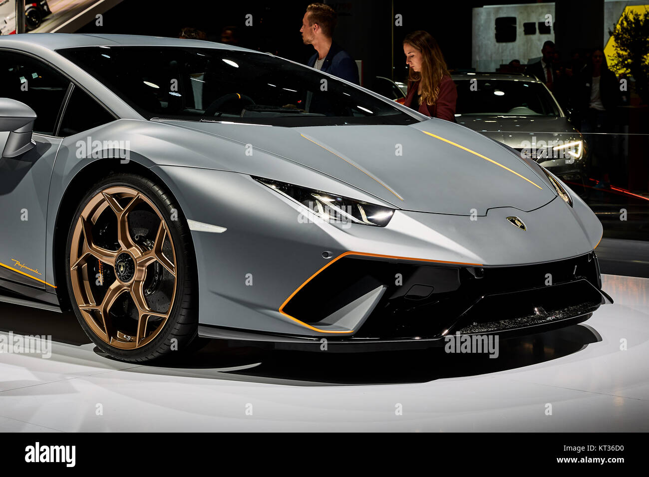 Frankfurt, Germany   September 12, 2017: 2017 Lamborghini Huracan  Perfomante Presented On The
