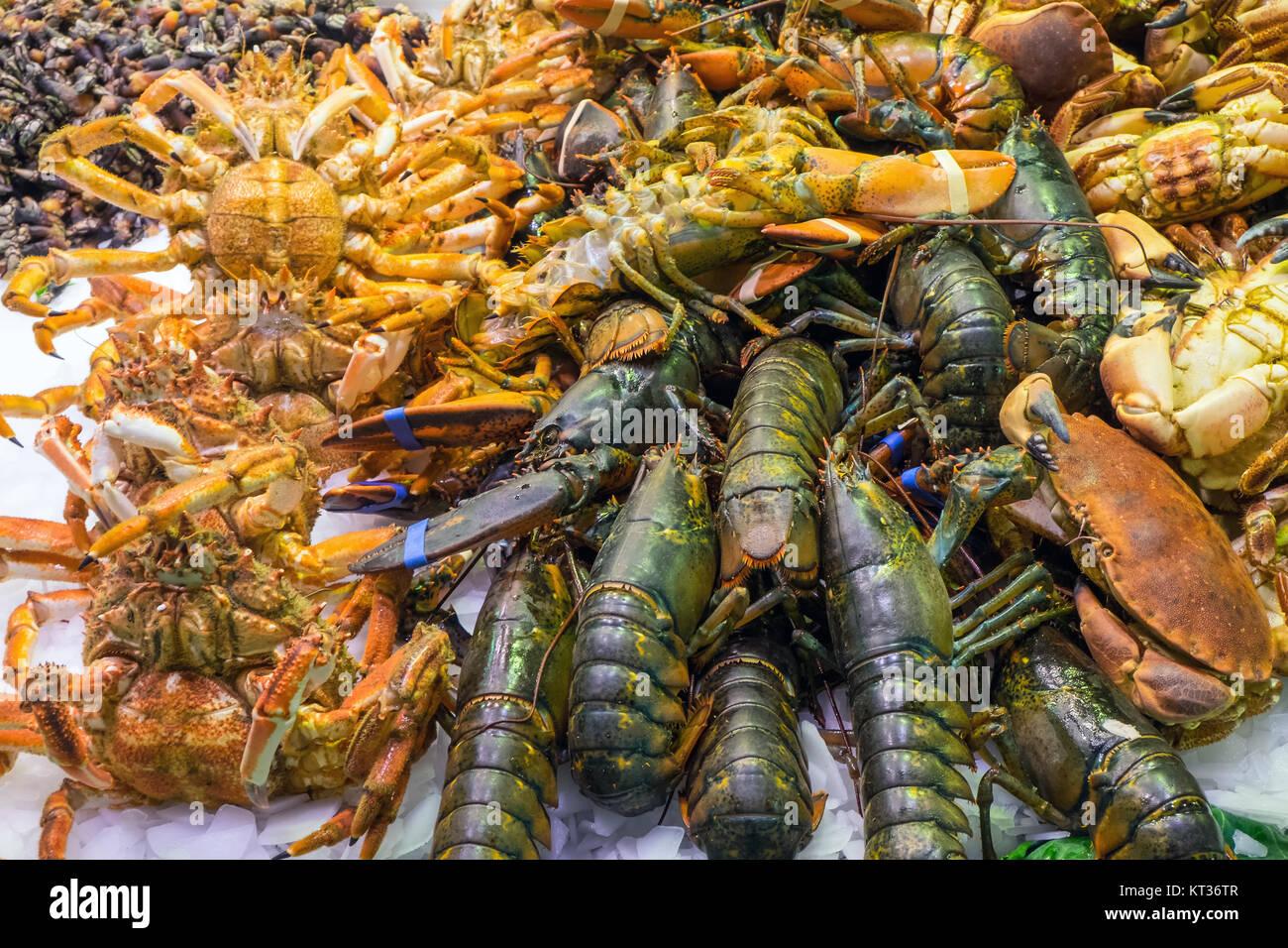 crustaceans on the boqueria market in barcelona,u200bu200bspain - Stock Image