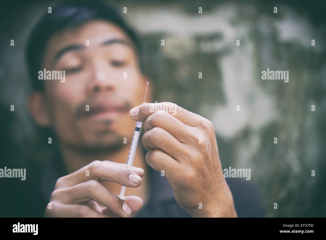 drug addict man - Stock Image