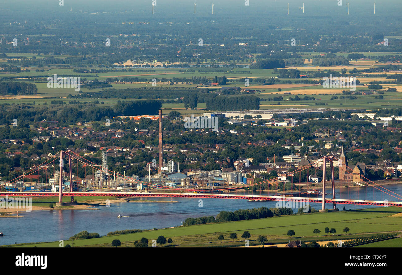 Emmerich, view of Emmerich over the Rhine and the Rhine bridge Emmerich, Lower Rhine, North Rhine-Westphalia, Germany, - Stock Image