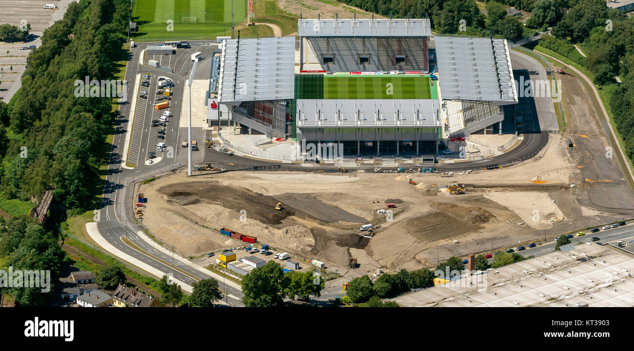 RWE Stadium, Red-White-Essen Stadium, from the Georg Melches Stadium Hafenstraße is nothing to see, aerial - Stock Image