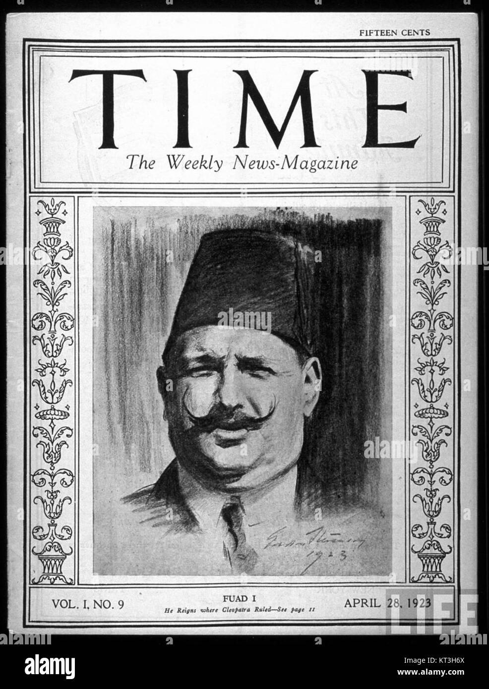 Fuad I on Time Magazine 1923 - Stock Image