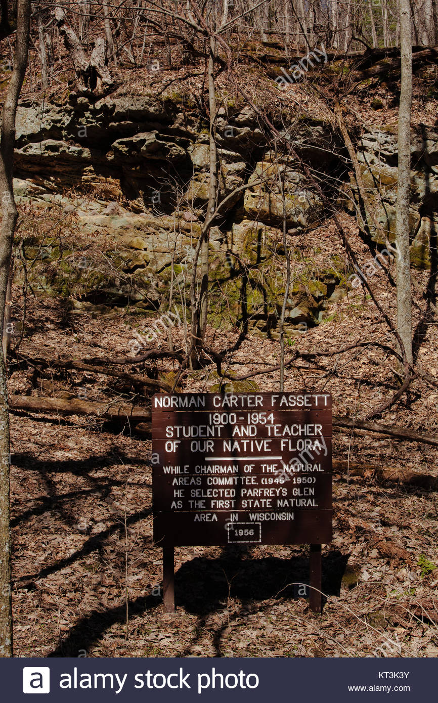 Dedication sign at Parfrey's Glen State Recreational Area near Baraboo, Wisconsin - Stock Image