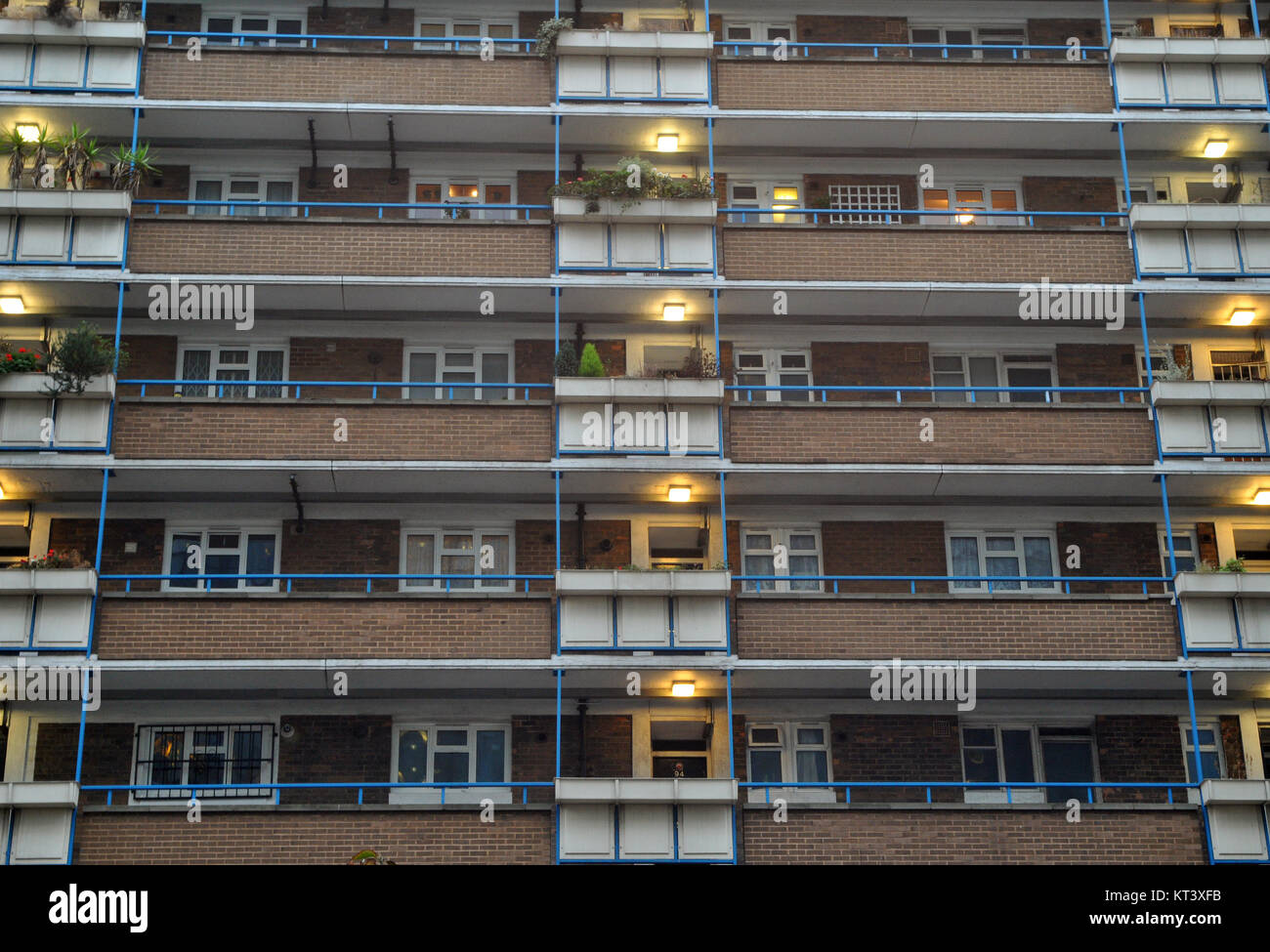 a block of vintage or 1950's local authority or council flats in the centre of London on a large estate close - Stock Image