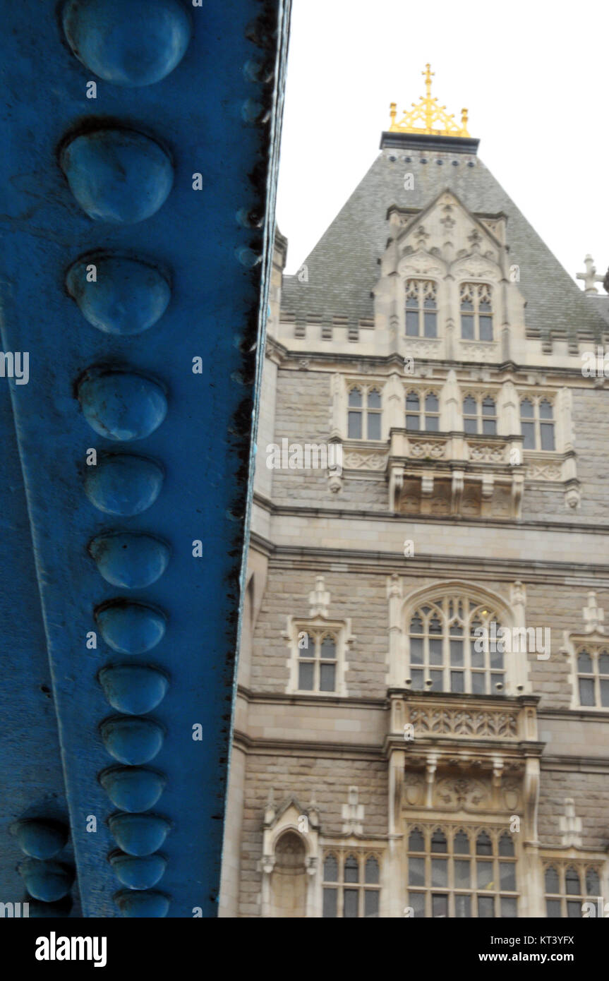 an alternative or unusual viewpoint of tower bridge in central London viewed from beneath showing steelwork and - Stock Image