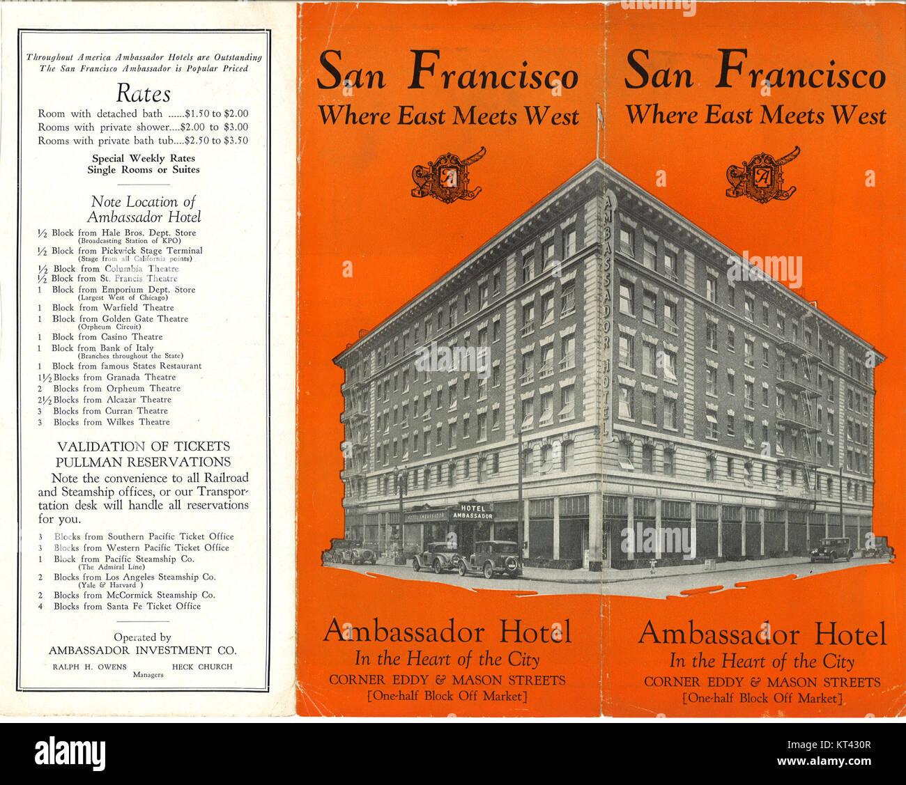 Ambassador Hotel 1930 brochure side 1 - Stock Image