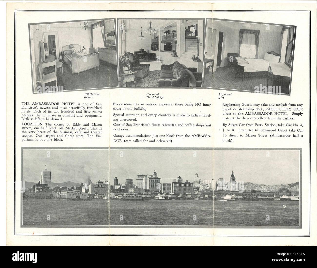 Ambassador Hotel 1930 brochure side 2 - Stock Image