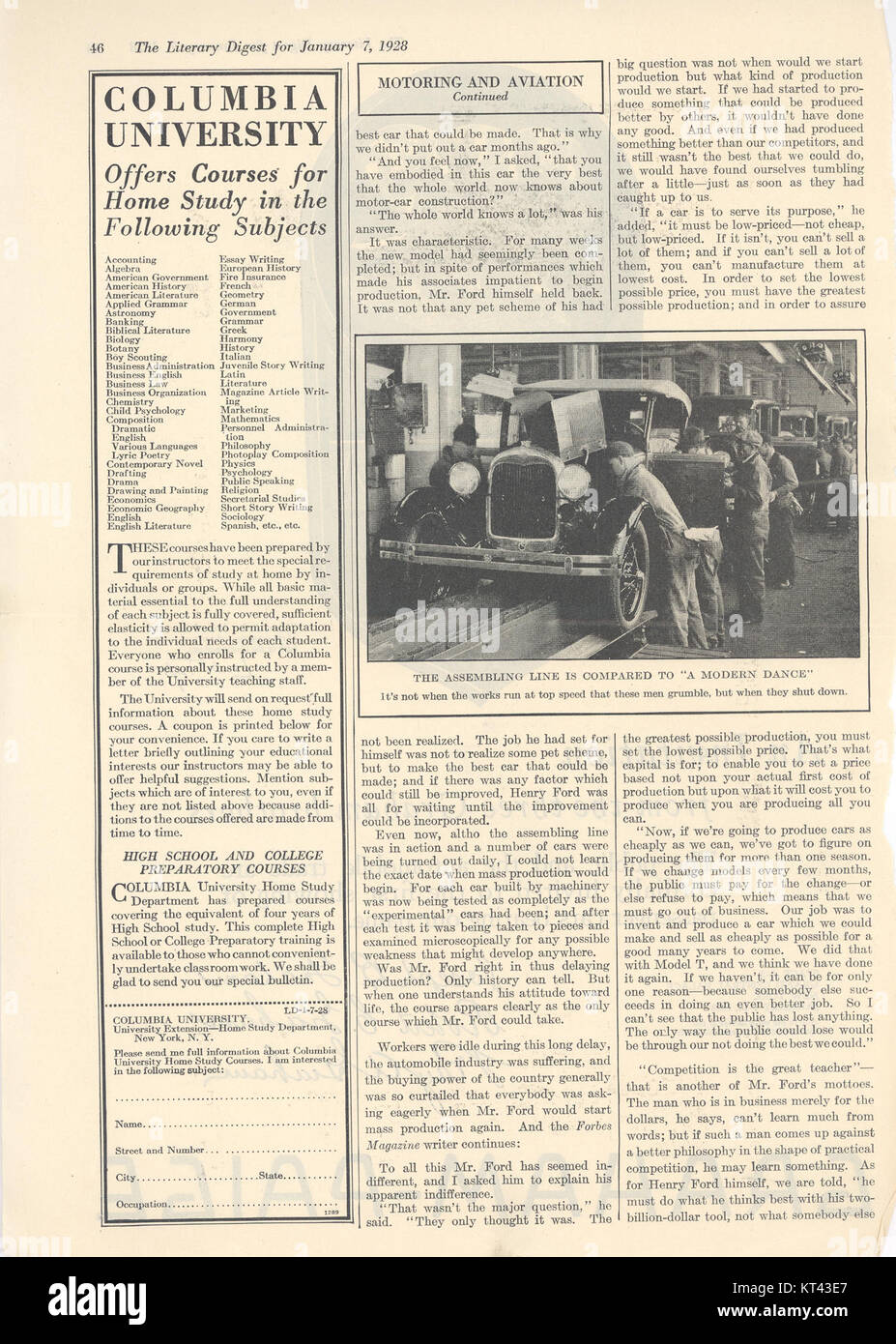 Literary Digest 1928-01-07 Henry Ford Interview 2 Stock