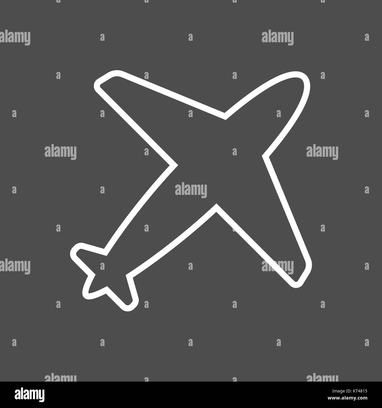 Airplane icon in thin outline style. Aviation transportation take-off travel passenger - Stock Image