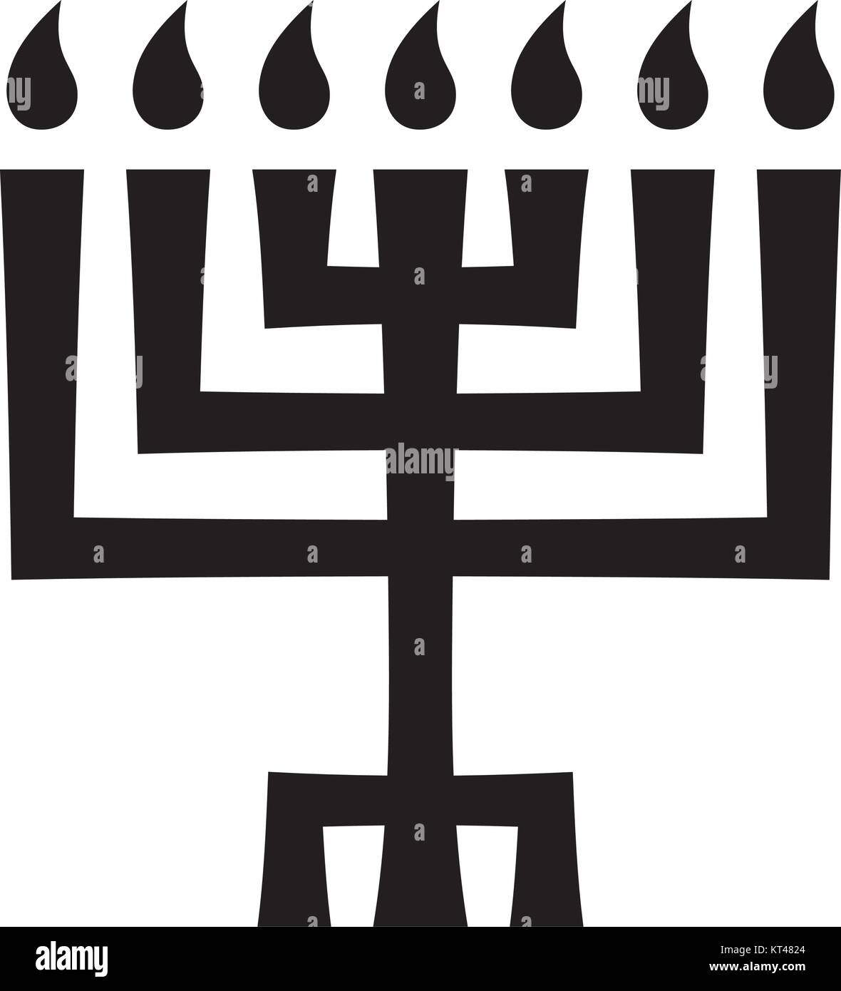 Menorah (ancient Hebrew seven-candleholder), sacred candelabrum with seven lamps, used in The Temple in Jerusalem. - Stock Vector