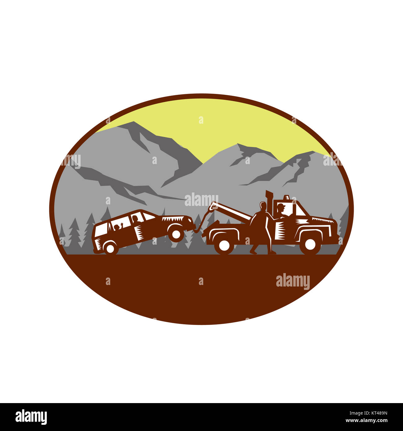 Car being towed Away Mountains Oval Woodcut - Stock Image