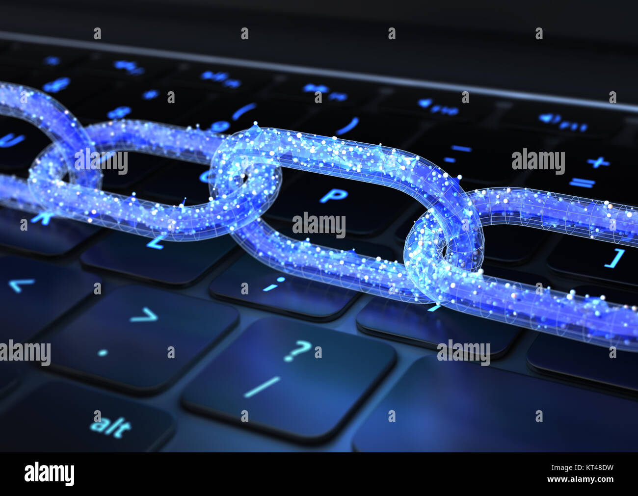 The chain with data on a keyboard. 3D illustration - Stock Image