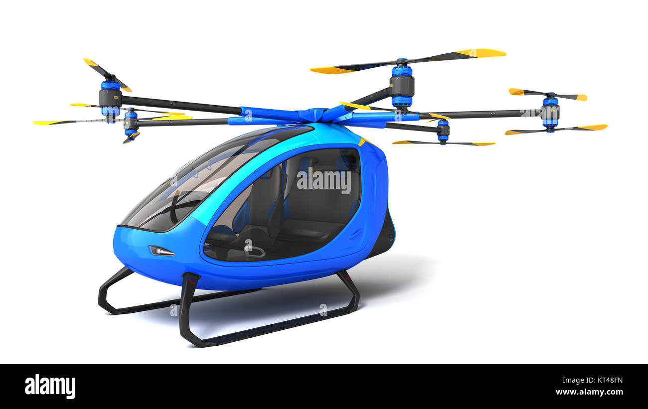 Electric Passenger Drone. This is a 3D model and doesn't exist in real life. 3D illustration Stock Photo