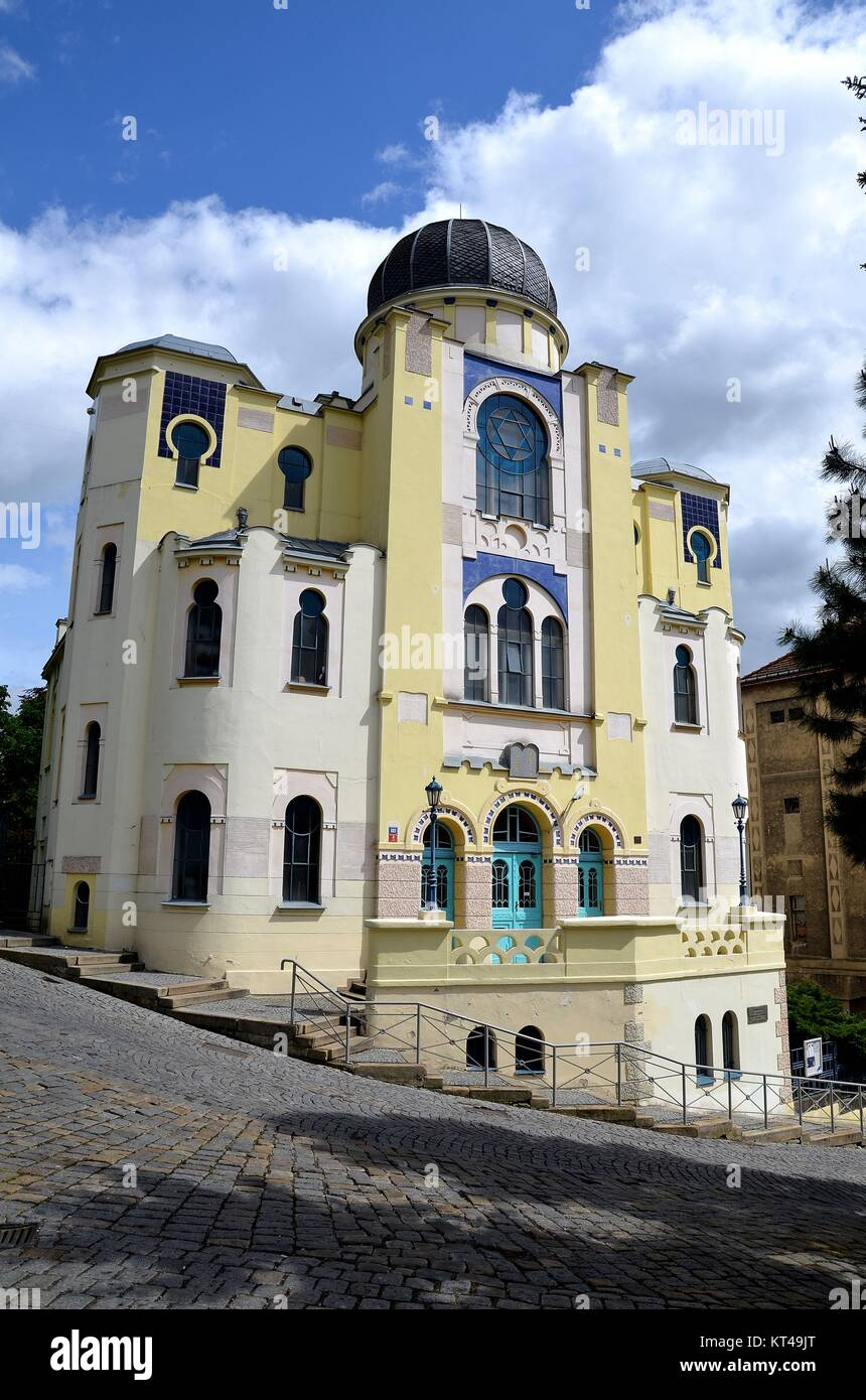 Děčín (Tetschen) at the river Labe (Elbe) in the Czech Republic: the synagogue - Stock Image